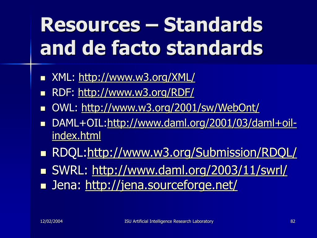 Resources – Standards and de facto standards