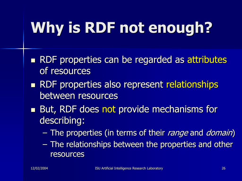 Why is RDF not enough?