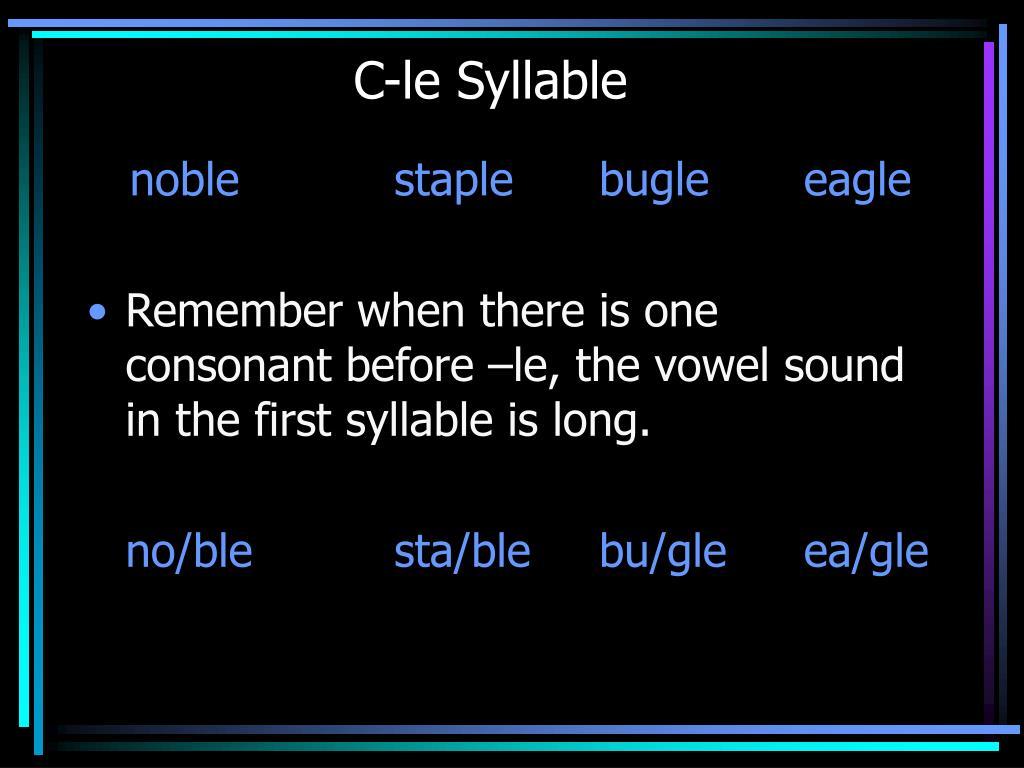 C-le Syllable