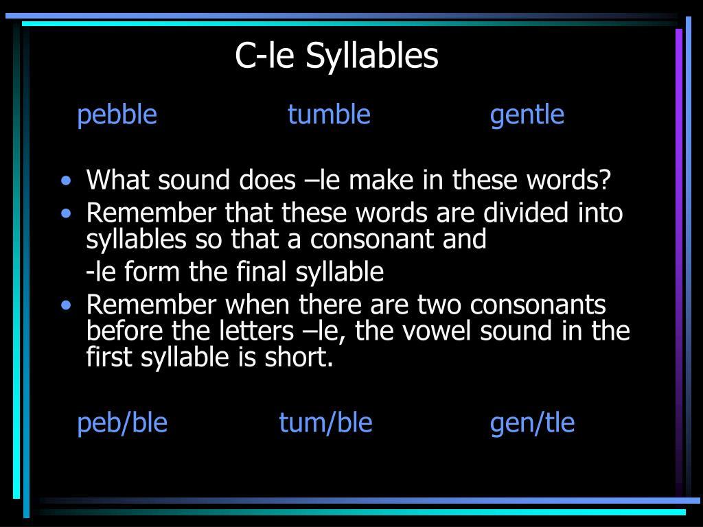 C-le Syllables