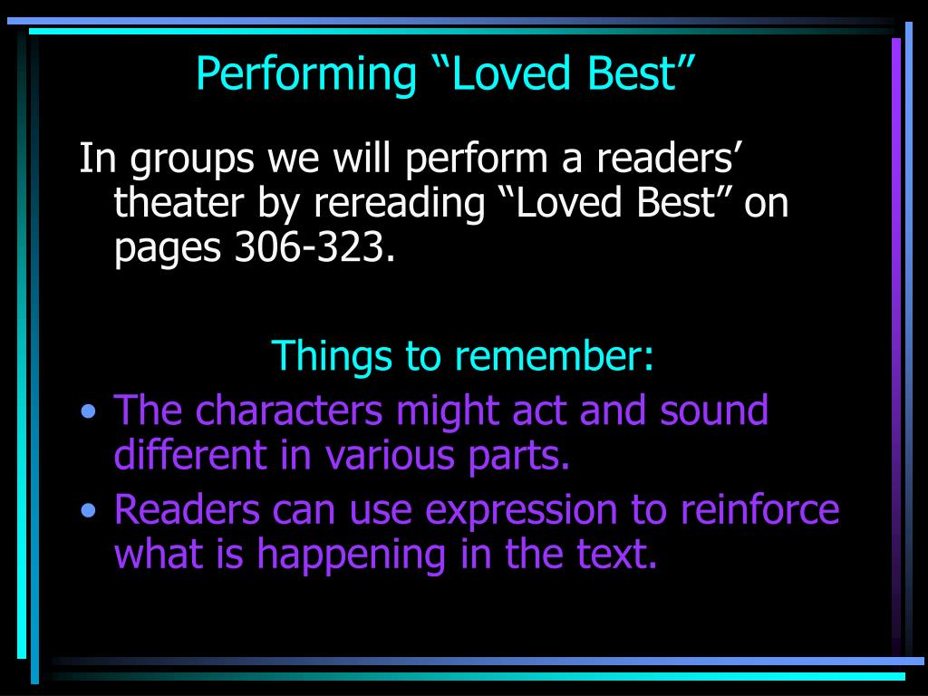 """Performing """"Loved Best"""""""