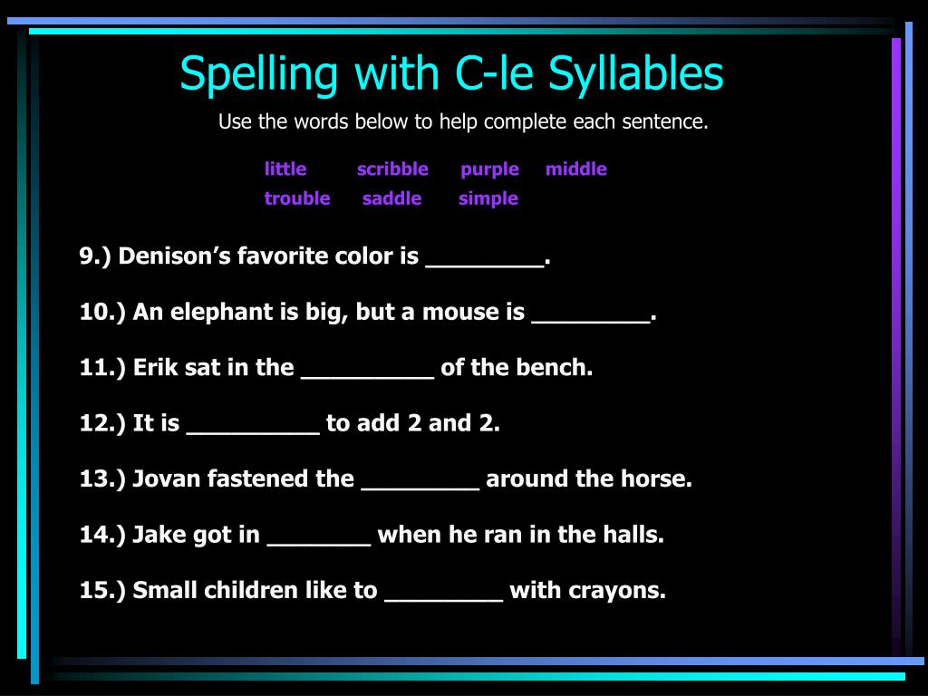 Spelling with C-le Syllables