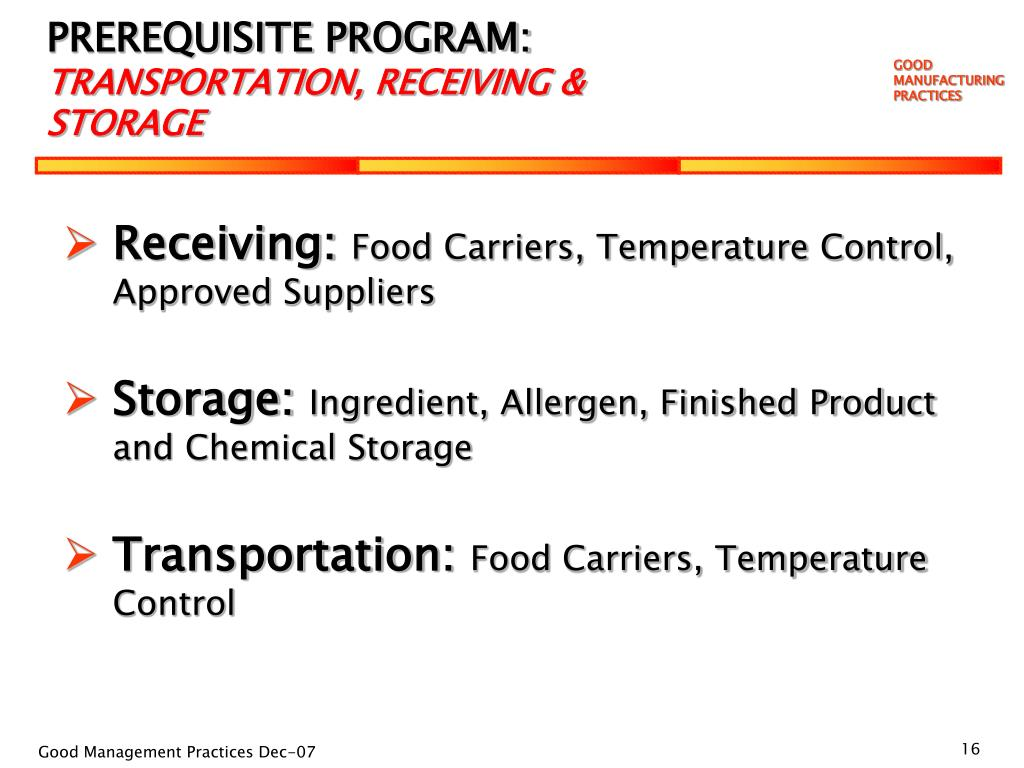 PPT  GOOD MANUFACTURING PRACTICES Training about our Food Safety Plan PowerPoint Presentation