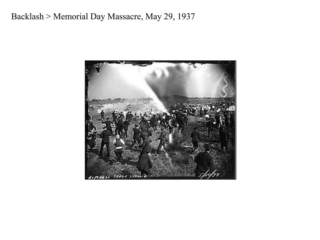 Backlash > Memorial Day Massacre, May 29, 1937