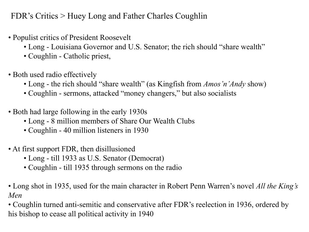 FDR's Critics > Huey Long and Father Charles Coughlin