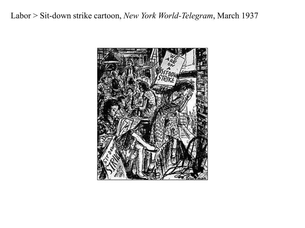 Labor > Sit-down strike cartoon,