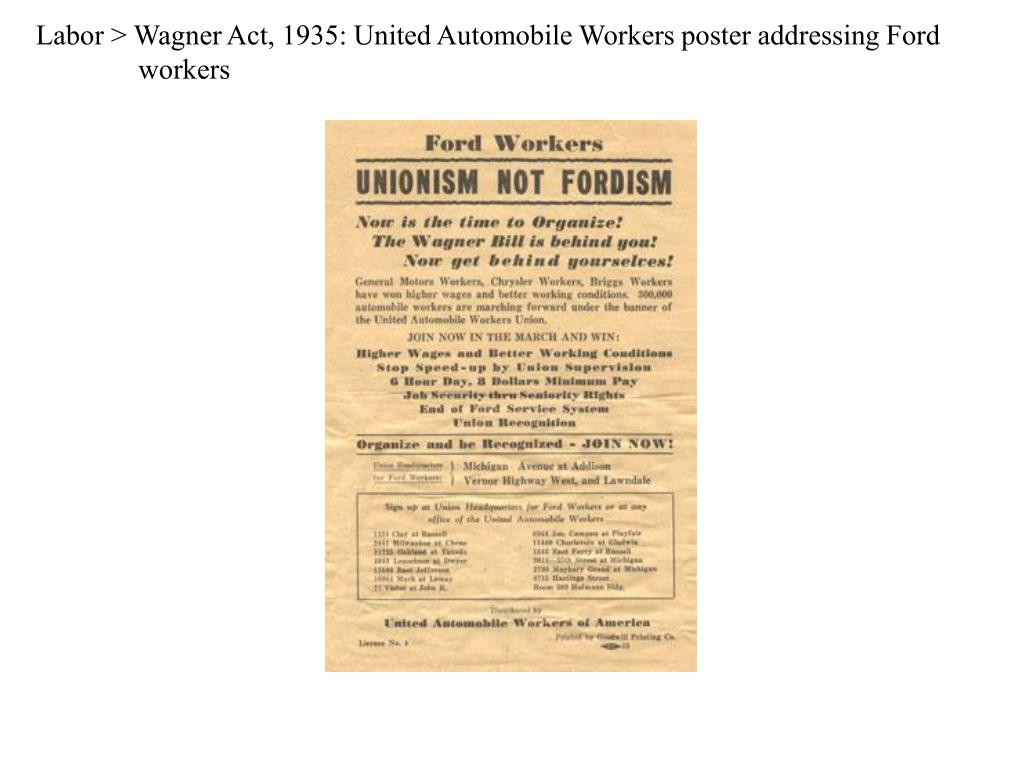 Labor > Wagner Act, 1935: United Automobile Workers poster addressing Ford workers