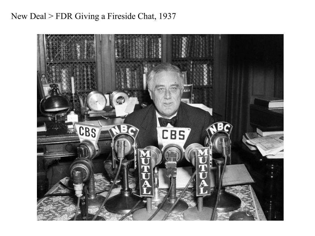 New Deal > FDR Giving a Fireside Chat, 1937