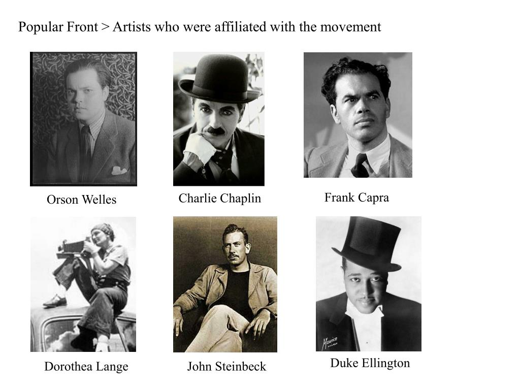 Popular Front > Artists who were affiliated with the movement