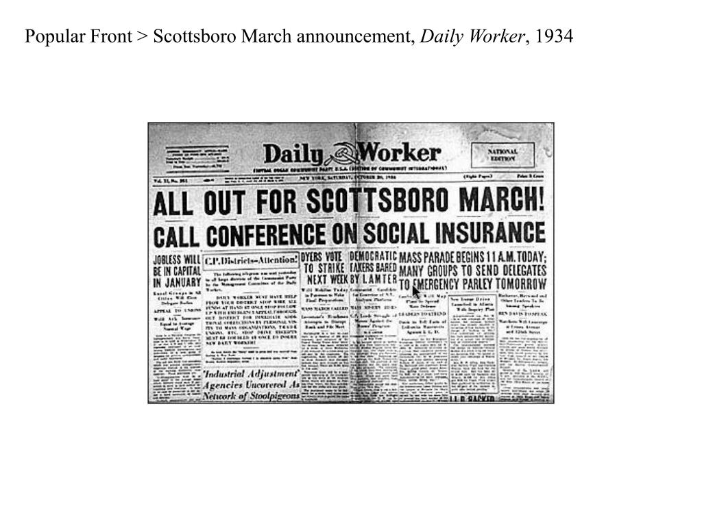 Popular Front > Scottsboro March announcement,