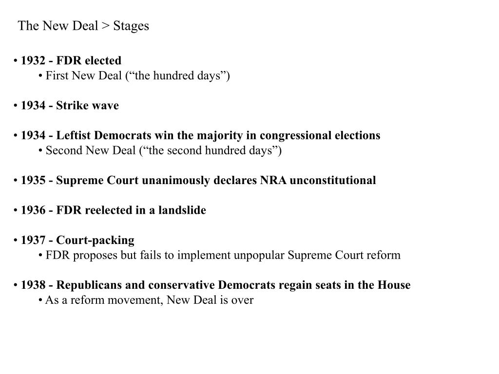 The New Deal > Stages