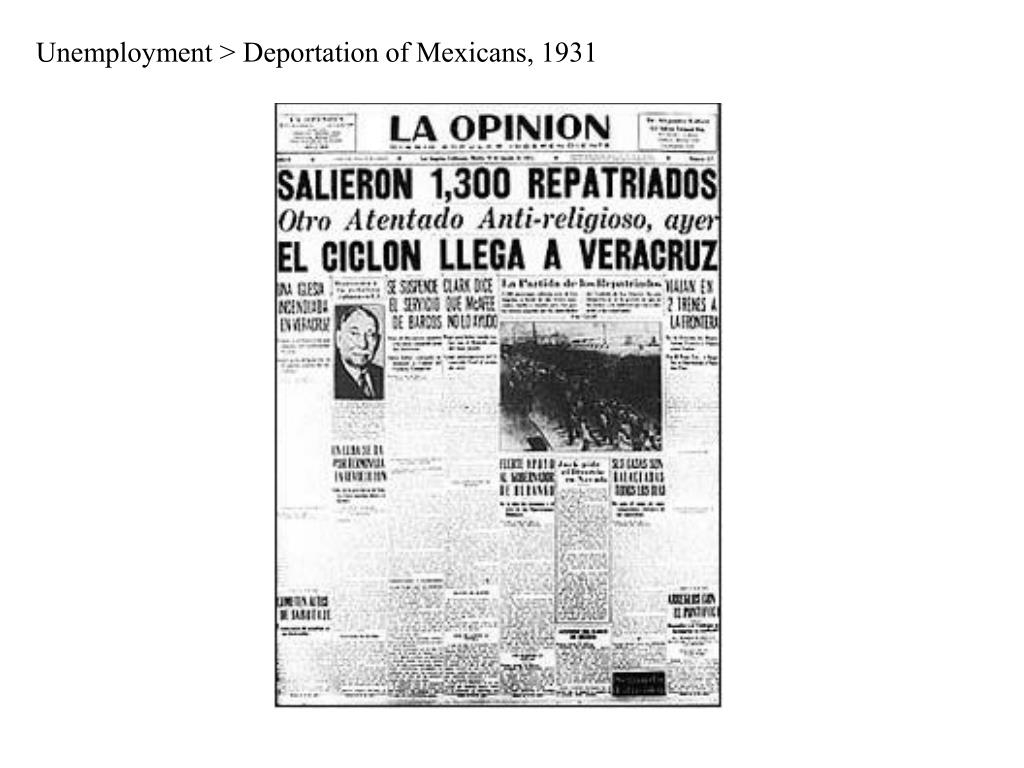 Unemployment > Deportation of Mexicans, 1931