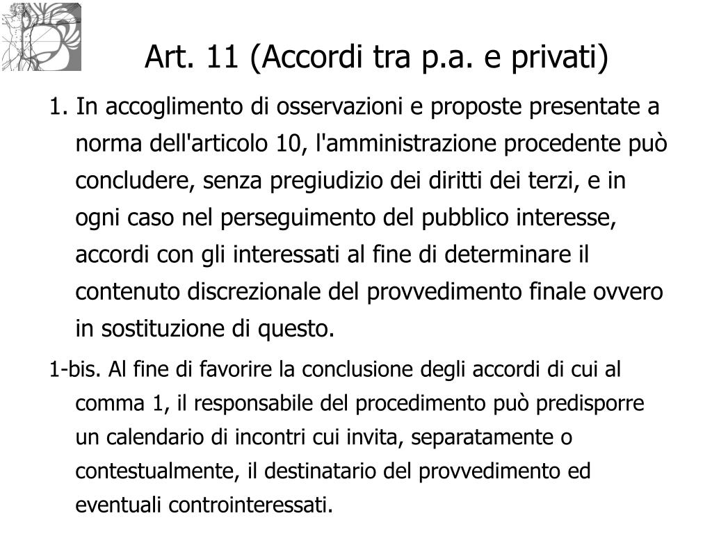 Art. 11 (Accordi tra p.a. e privati)