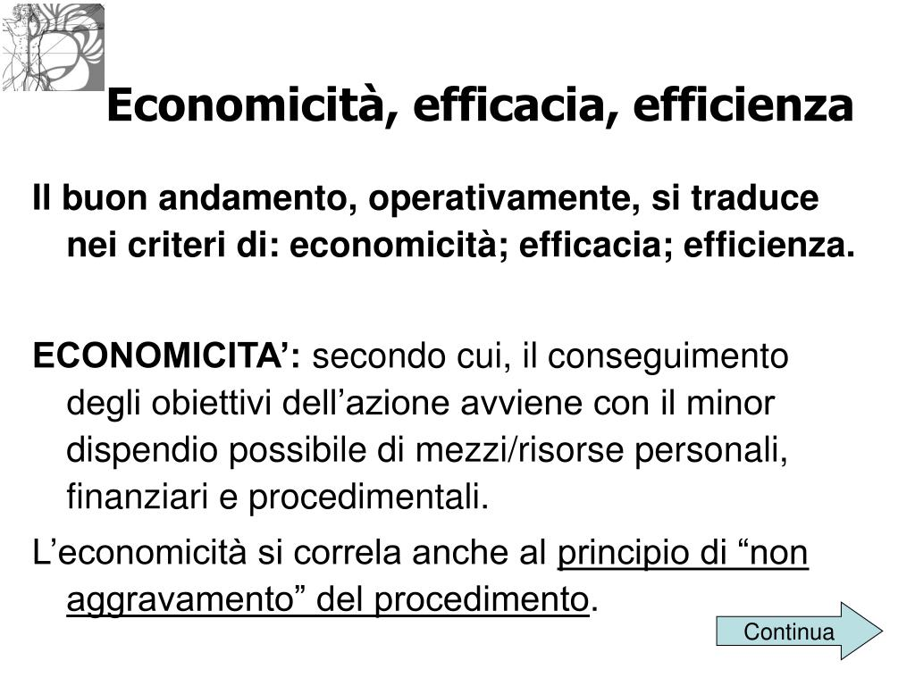 Economicità, efficacia, efficienza