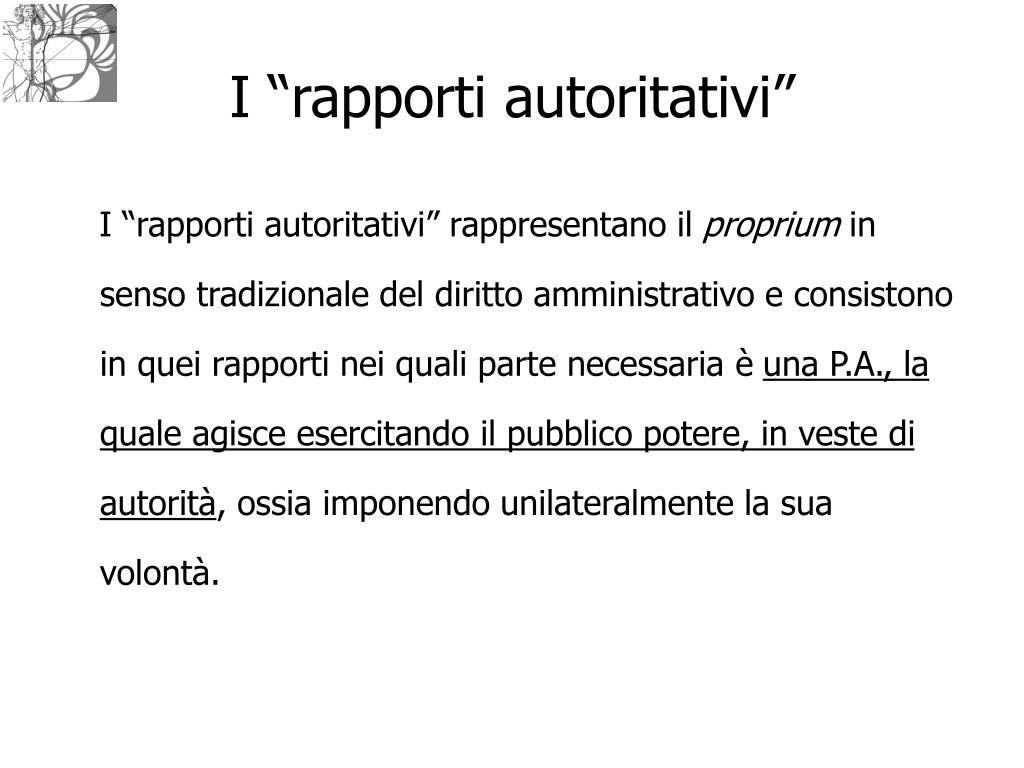 "I ""rapporti autoritativi"""