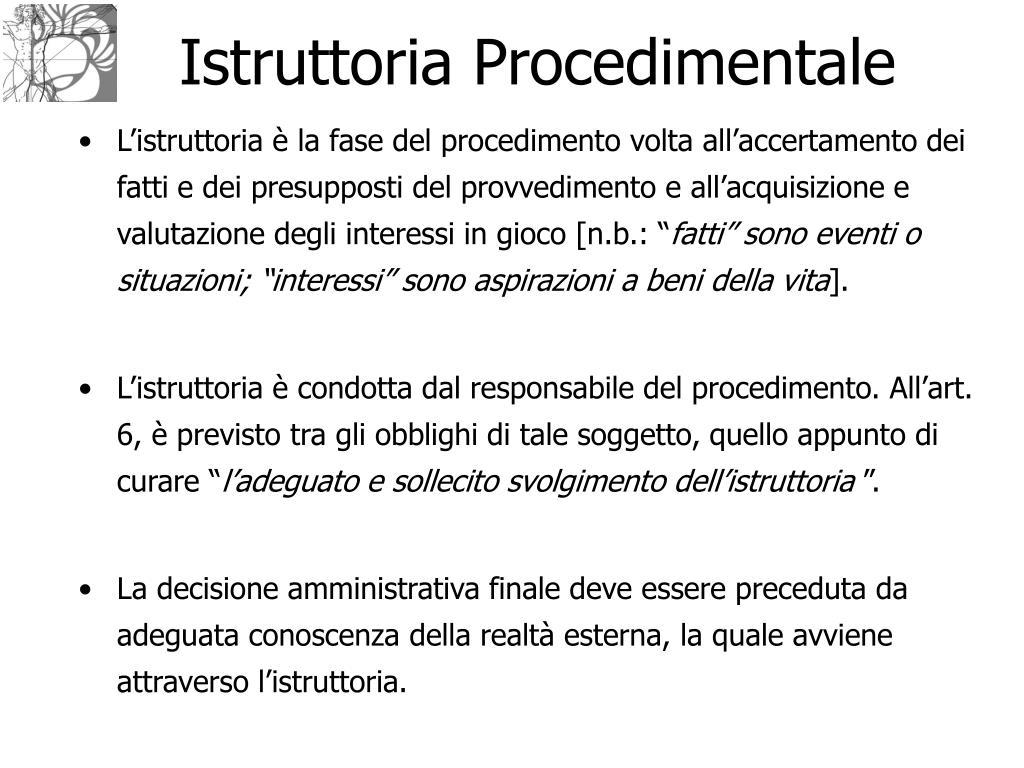 Istruttoria Procedimentale