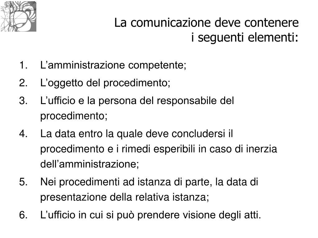 La comunicazione deve contenere