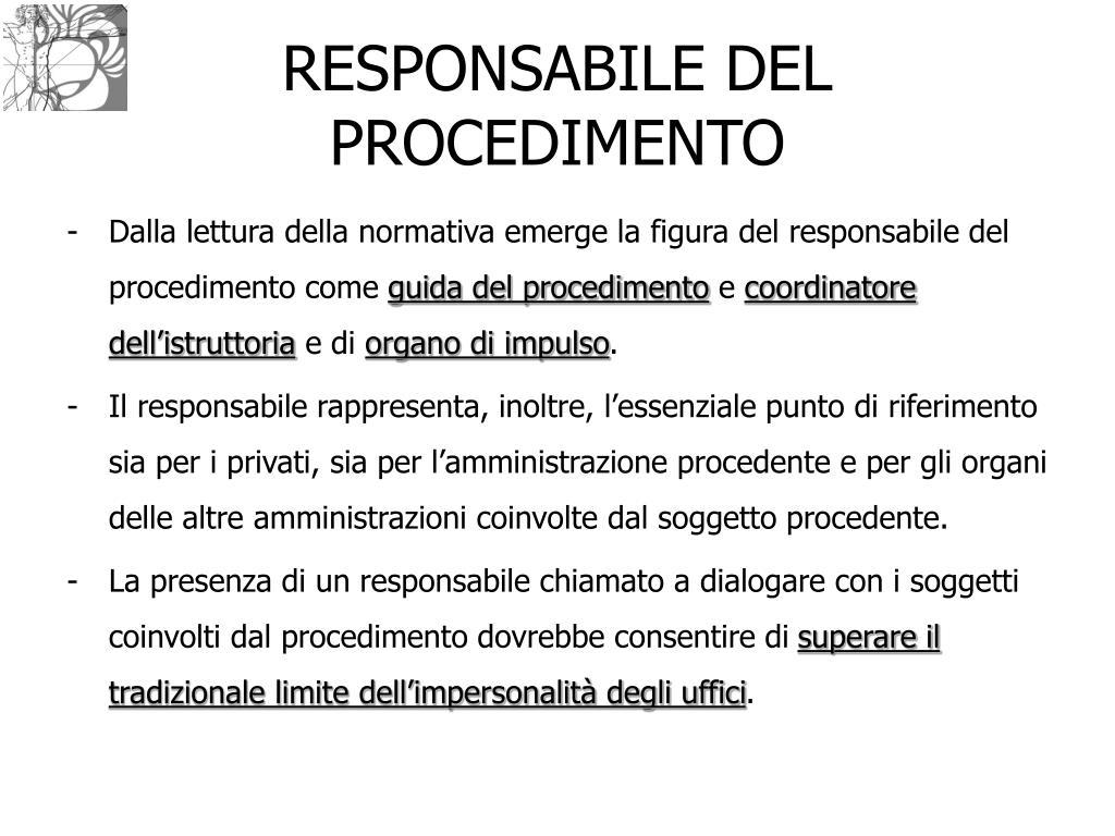 RESPONSABILE DEL PROCEDIMENTO