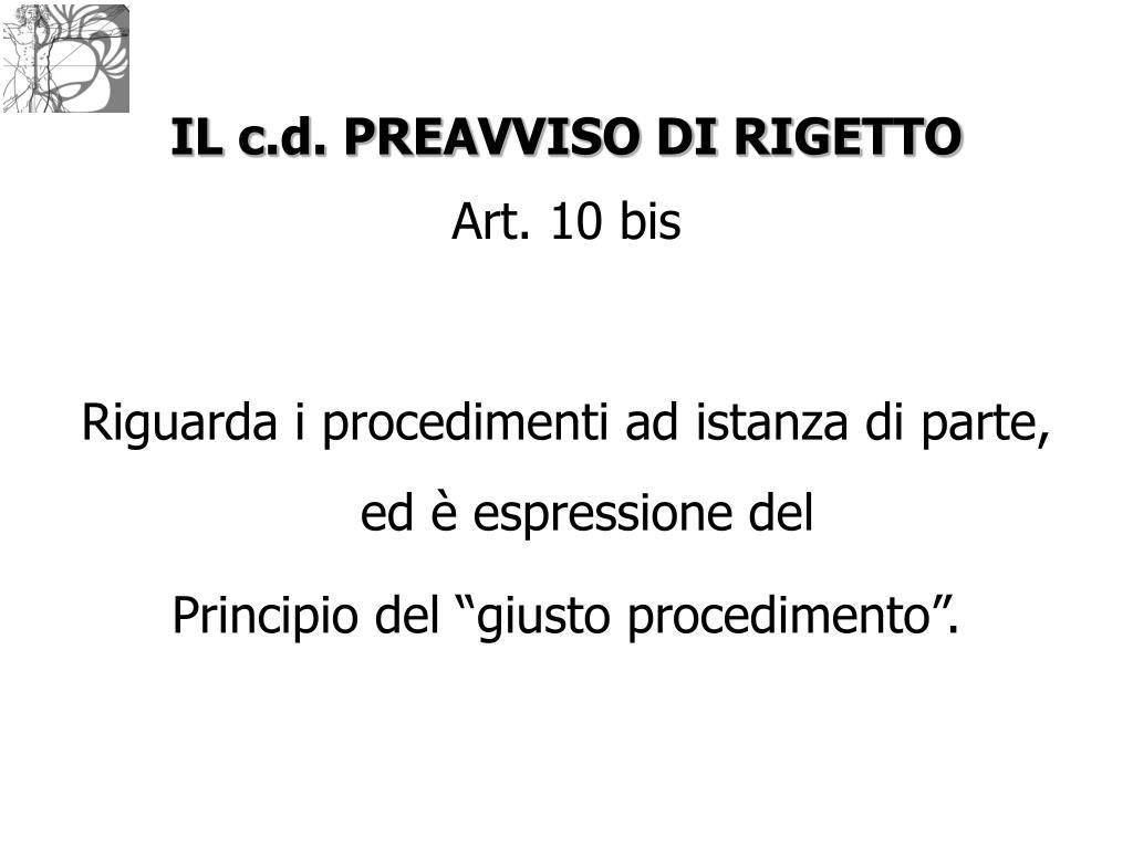 IL c.d. PREAVVISO DI RIGETTO