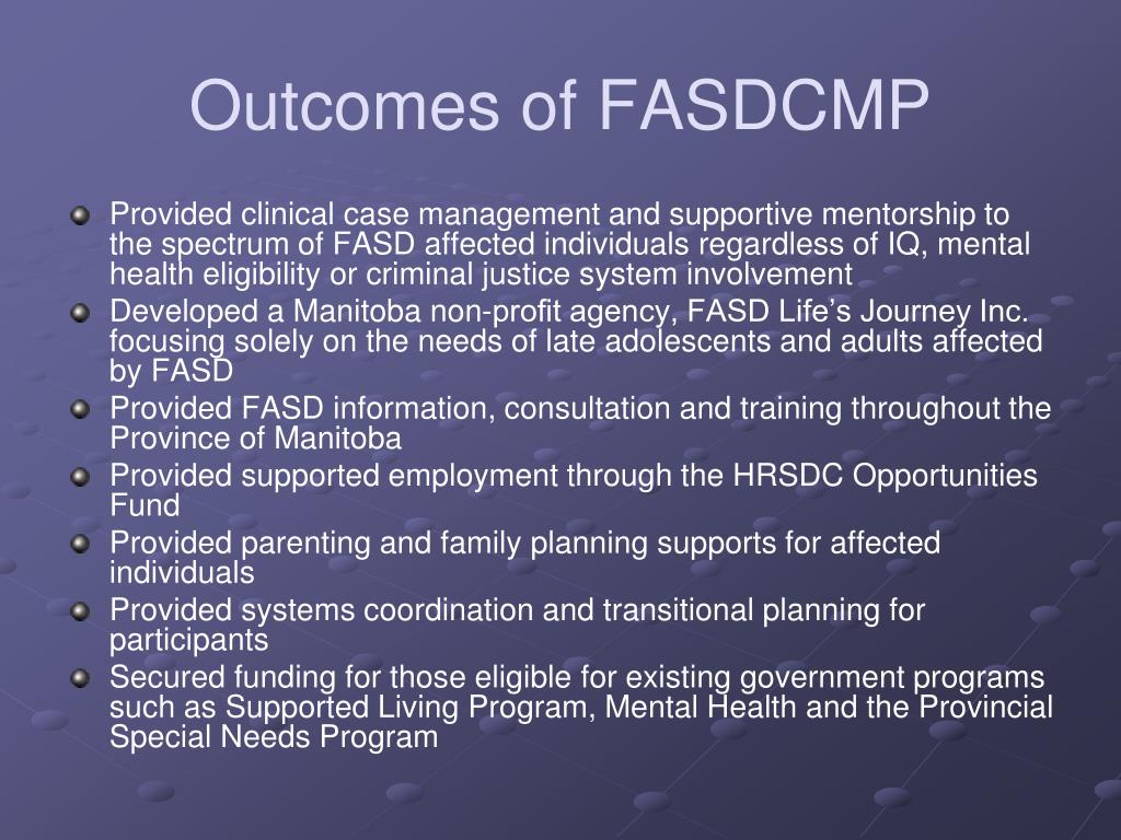 Outcomes of FASDCMP