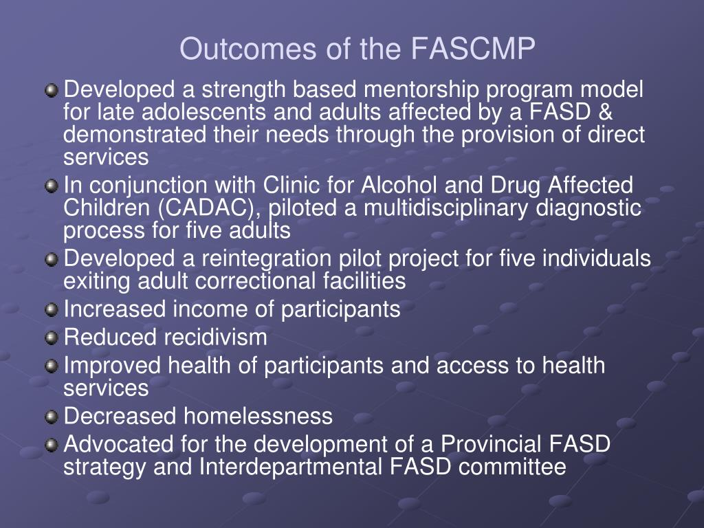 Outcomes of the FASCMP