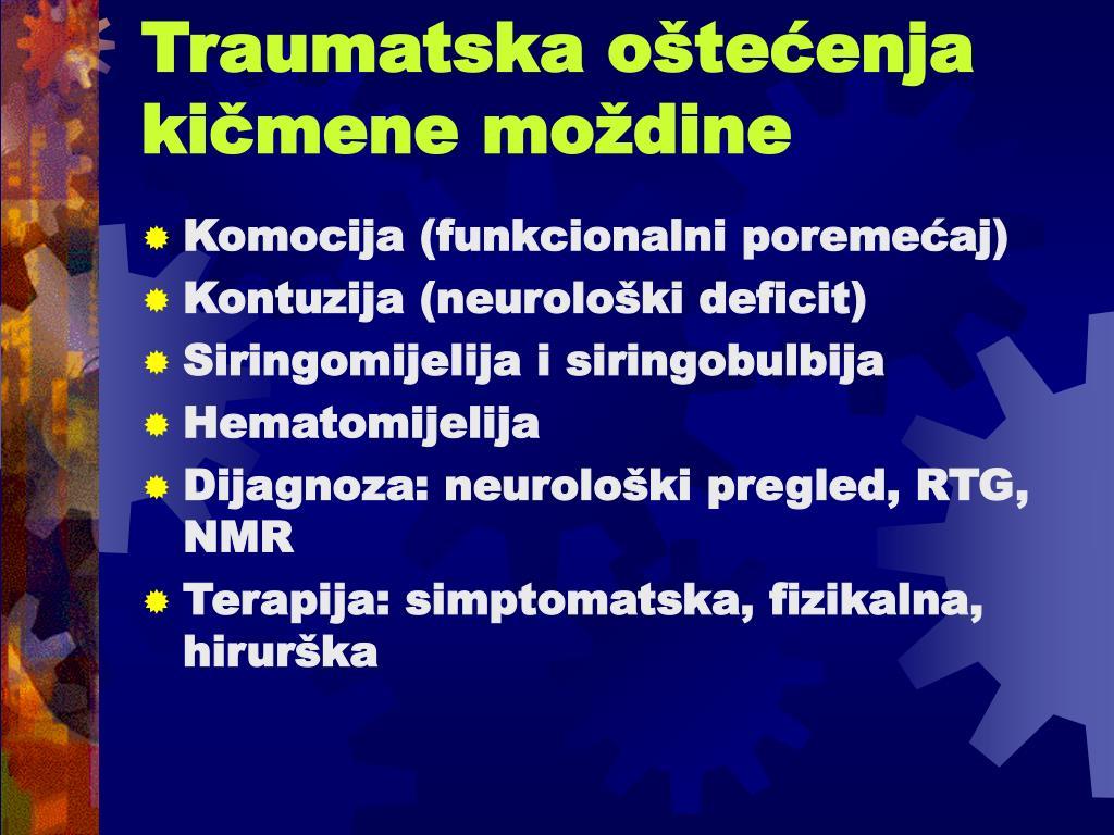 Traumatska oštećenja kičmene moždine