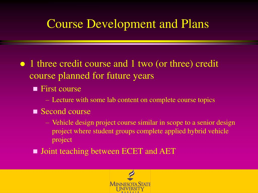 Course Development and Plans
