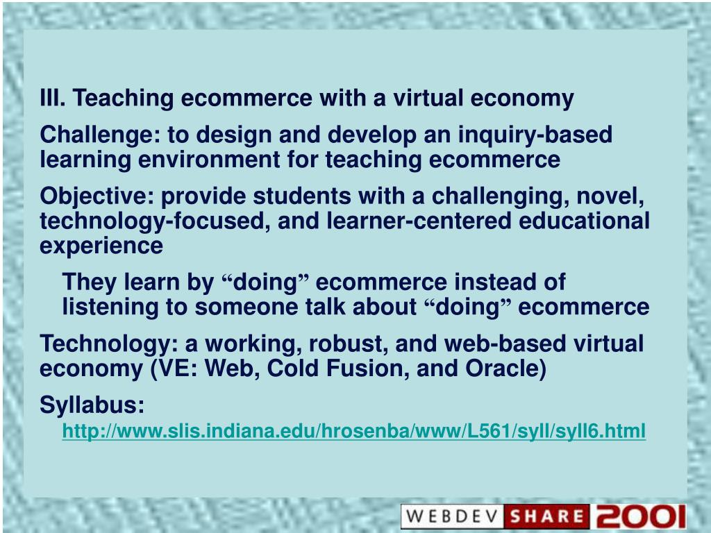III. Teaching ecommerce with a virtual economy