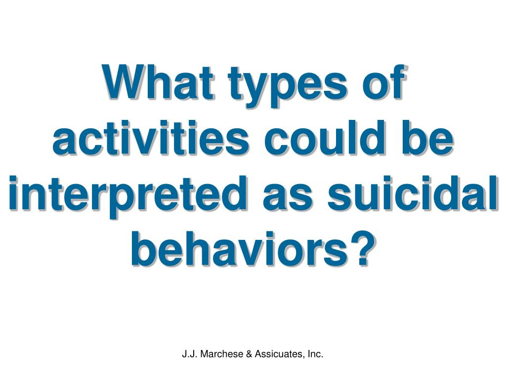 What types of activities could be interpreted as suicidal behaviors?