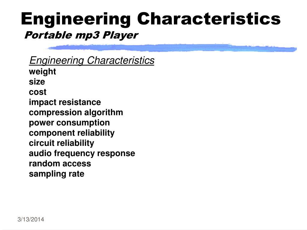 Engineering Characteristics