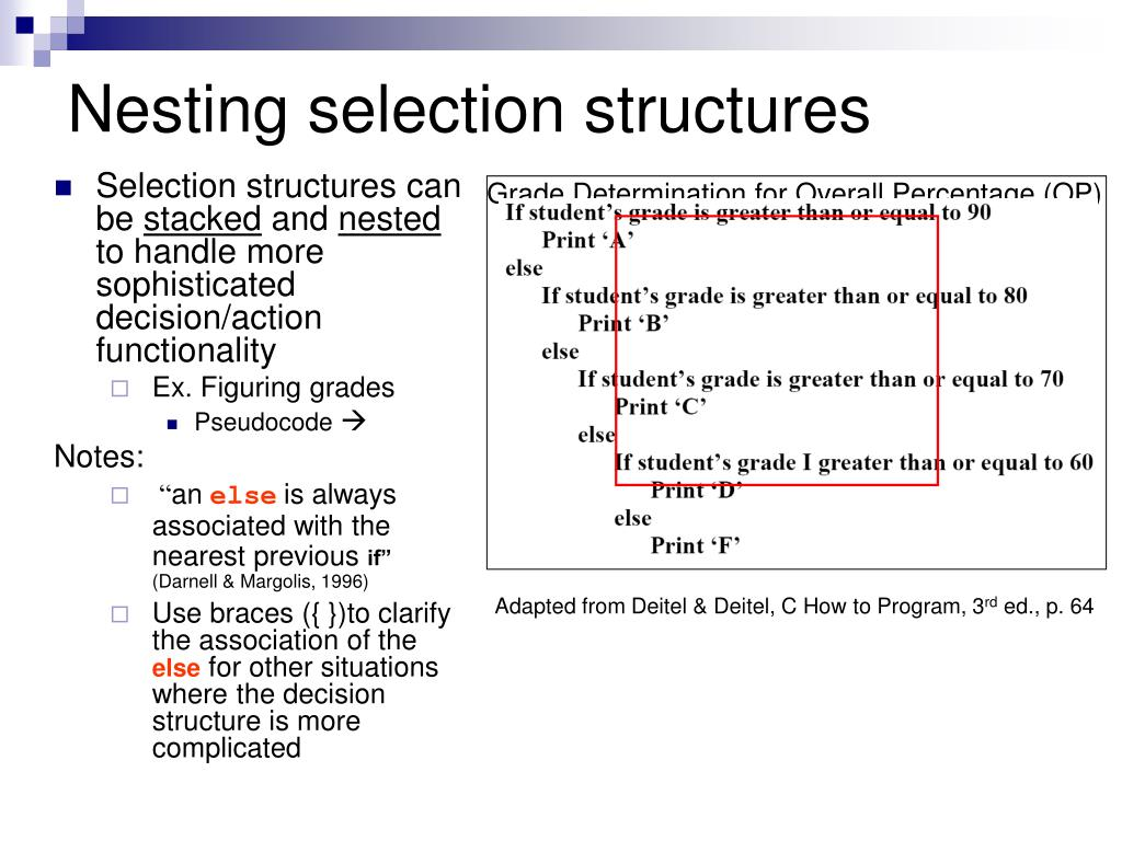 Nesting selection structures