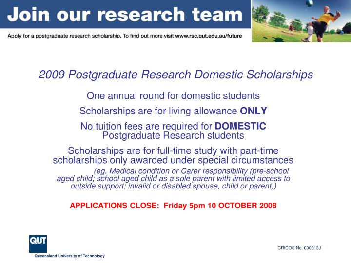 2009 postgraduate research domestic scholarships2