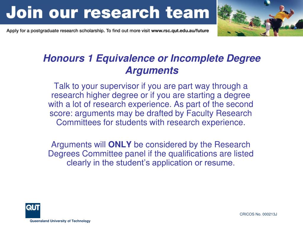 Honours 1 Equivalence or Incomplete Degree Arguments