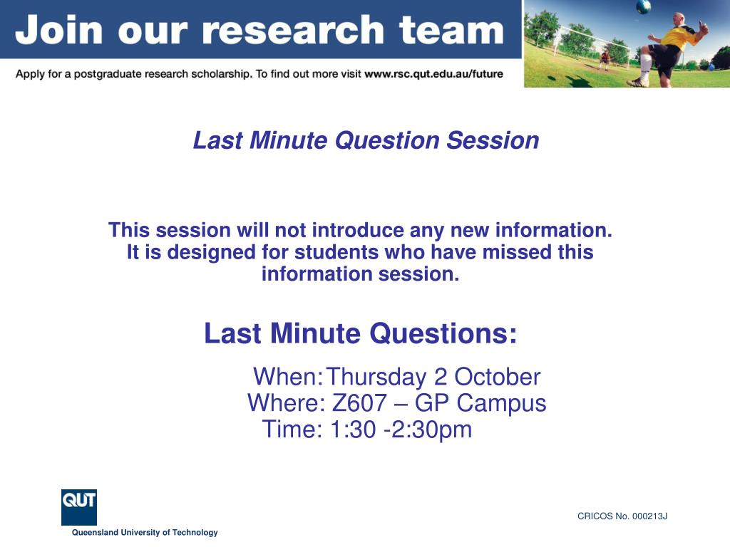 Last Minute Question Session