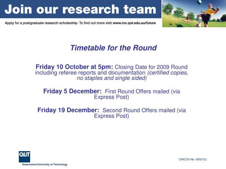 Timetable for the round