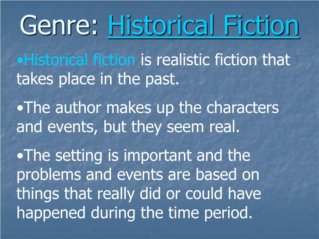 unknown genre and historical fiction Authors of stories in this genre are often retelling the story it may say adapted by, retold by, or the author may be unknown historical fiction c.