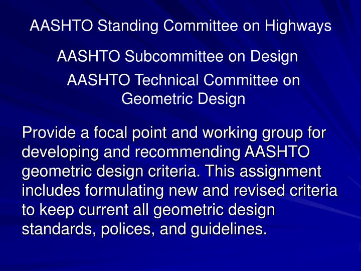 Aashto standing committee on highways