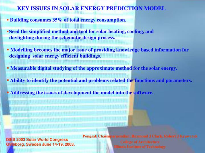 KEY ISSUES IN SOLAR ENERGY PREDICTION MODEL