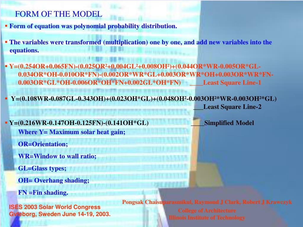 FORM OF THE MODEL