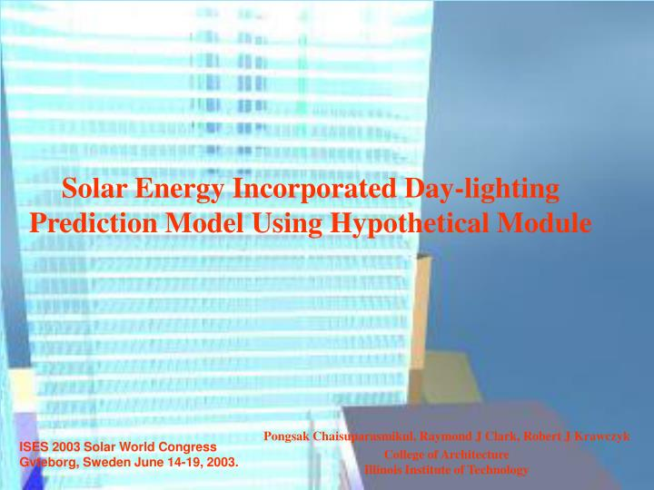 Solar energy incorporated day lighting prediction model using hypothetical module