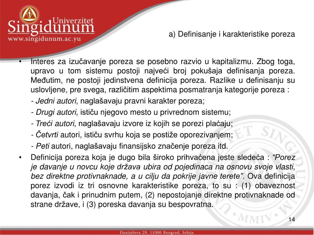 a) Definisanje i karakteristike poreza