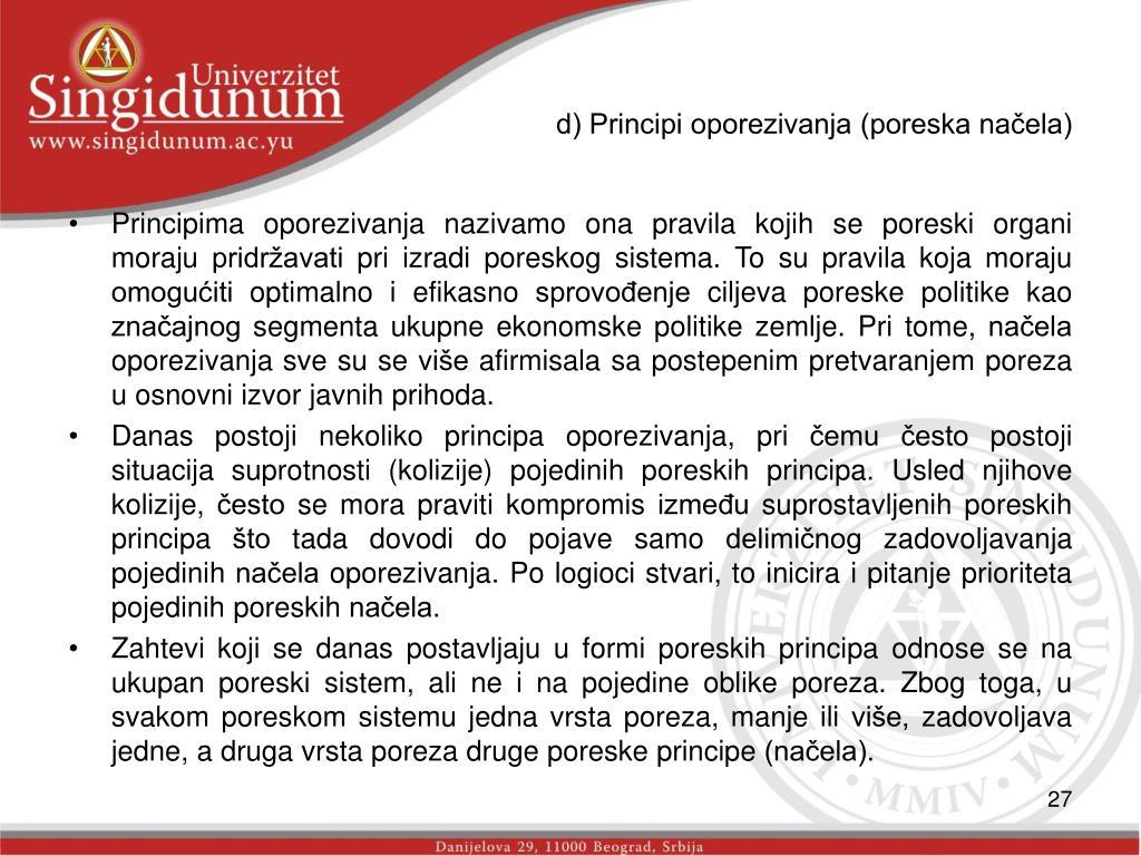 d) Principi oporezivanja (poreska načela)