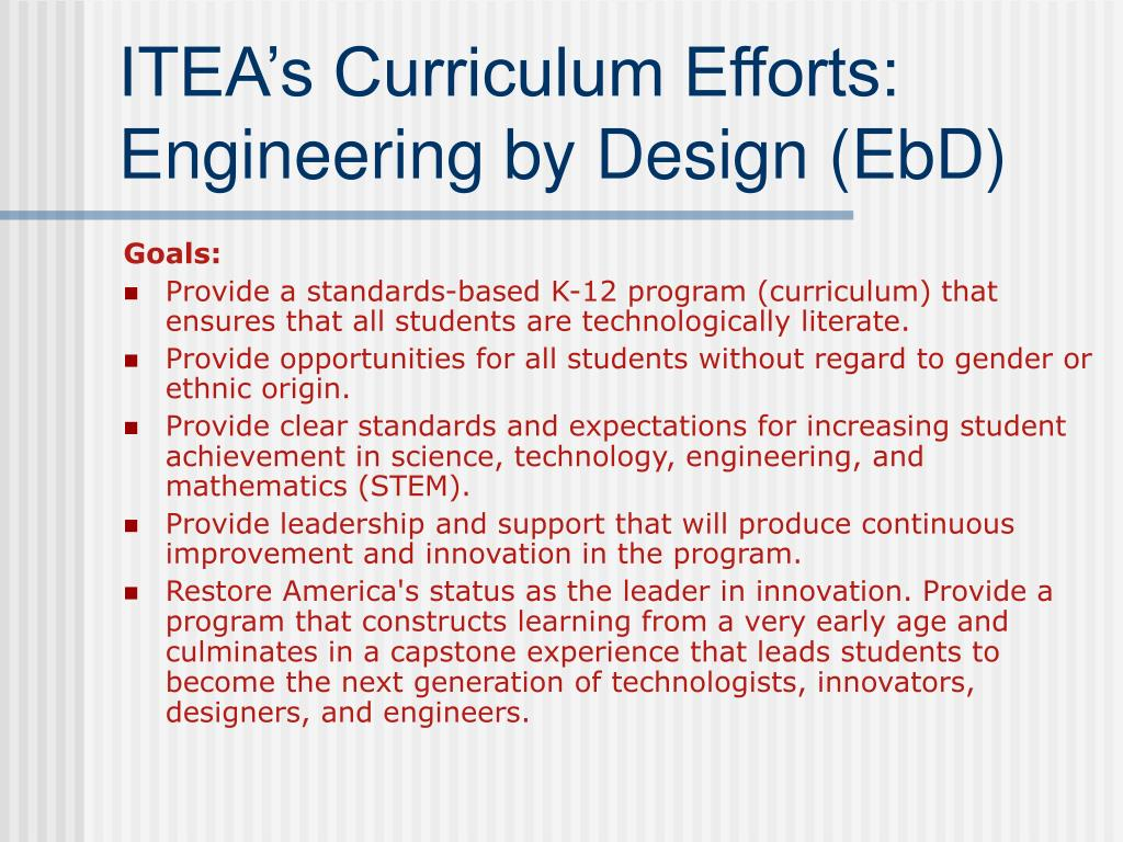 ITEA's Curriculum Efforts: Engineering by Design (EbD)
