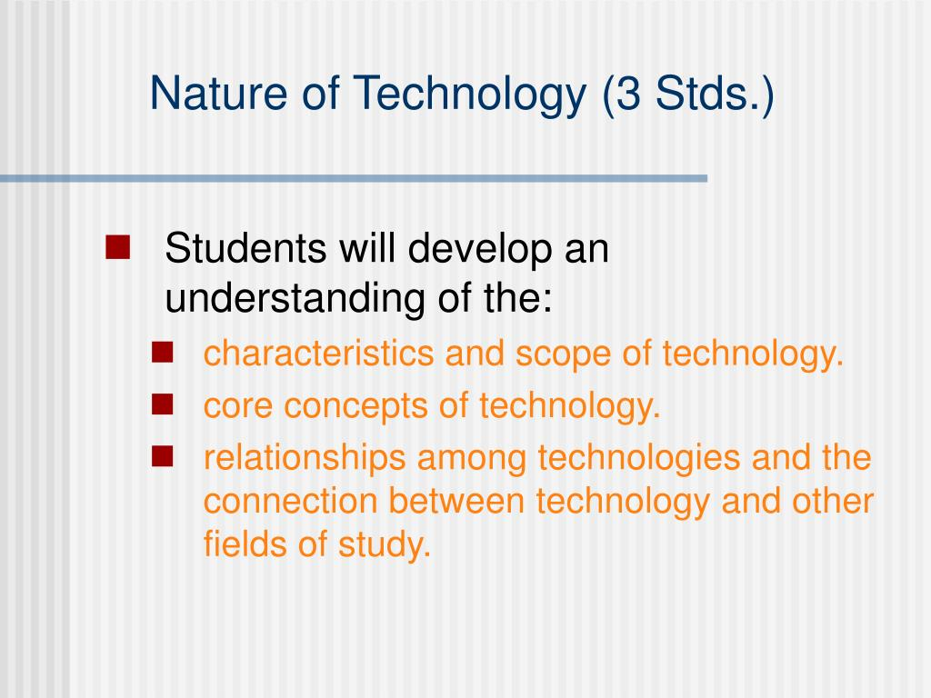 Nature of Technology (3 Stds.)