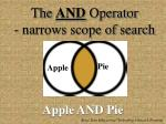 the and operator narrows scope of search