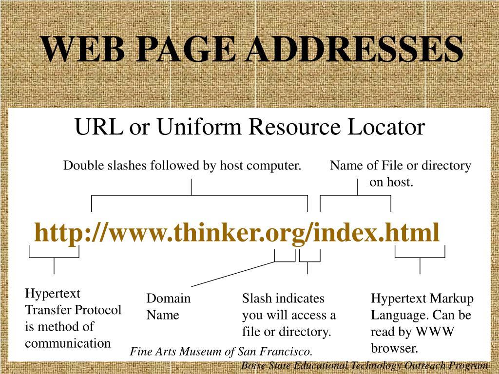 WEB PAGE ADDRESSES