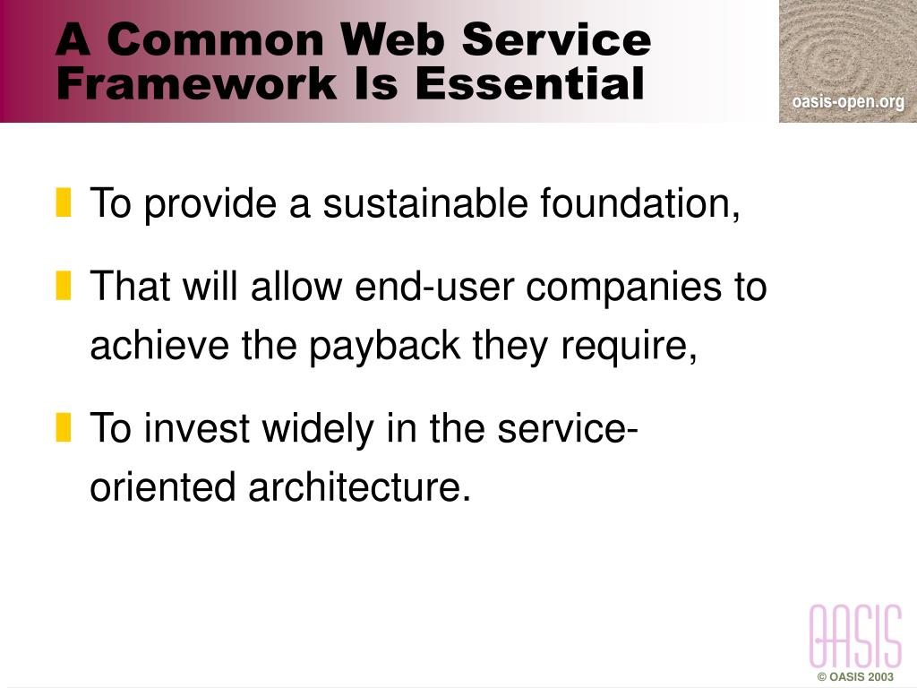 A Common Web Service Framework Is Essential