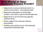 what should an open standards process provide