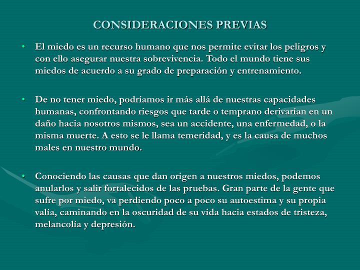 CONSIDERACIONES PREVIAS
