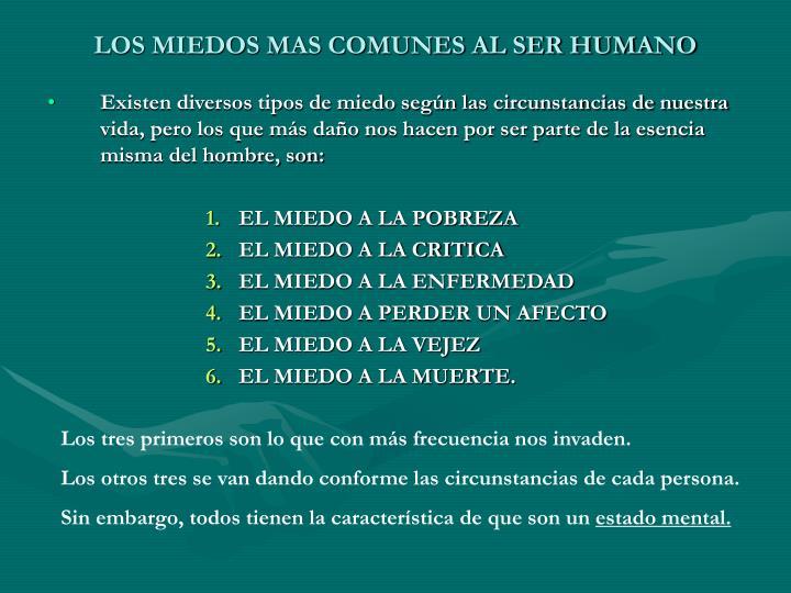 LOS MIEDOS MAS COMUNES AL SER HUMANO